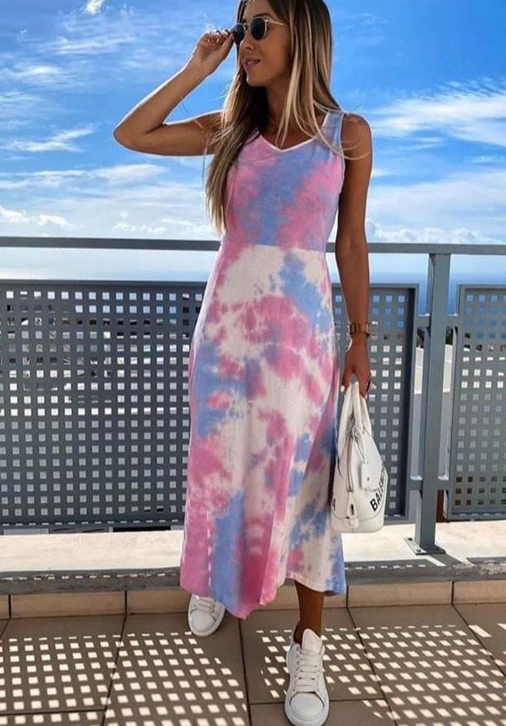 Yıkama micro kumaş yırtmaç detay elbise(pembe)