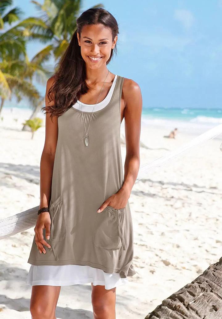 Geniş Yaka Cepli Basic İkili Elbise (Vizon)