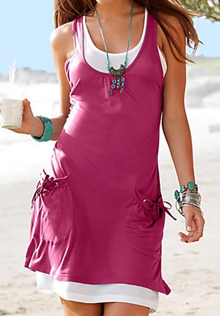 Geniş Yaka Cepli Basic İkili Elbise (Eflatun)