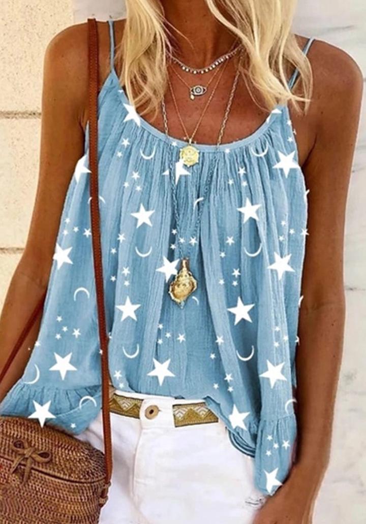 İp Askılı Moon Salaş Bluz (Mavi)