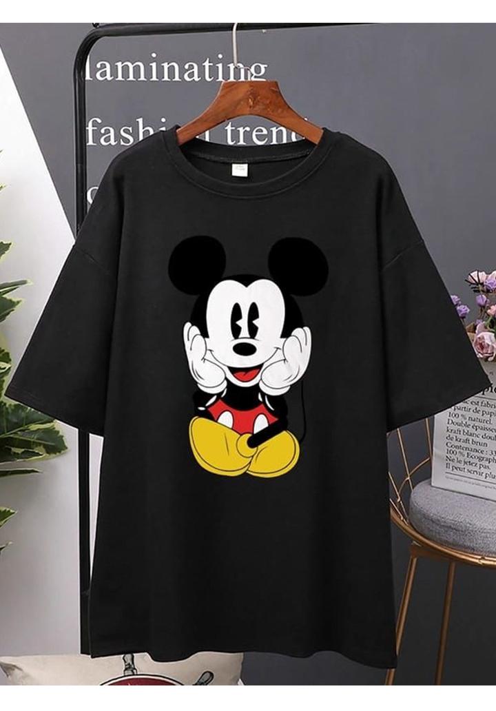 Mickey Baskılı Tshırt-Tunik (Siyah)