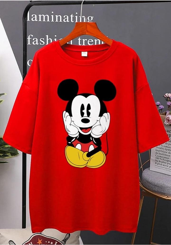 Mickey Baskılı Tshırt-Tunik (Kırmızı)