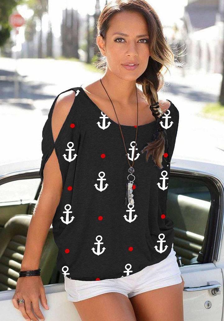 Kol dekolteli kayık yaka marine bluz