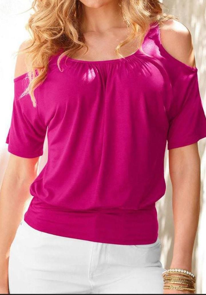 Omuz dekolteli basic tshirt(fuşya)