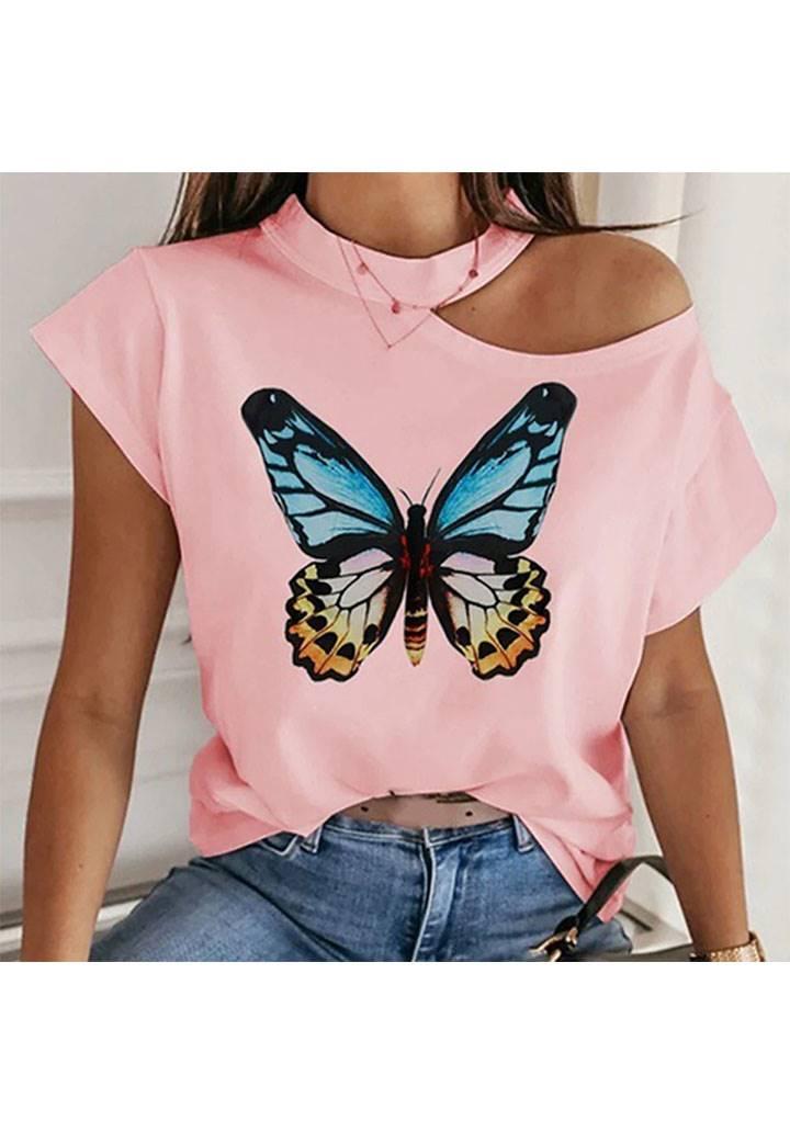Tek omuz dekolteli kelebek desen tshırt(pembe)