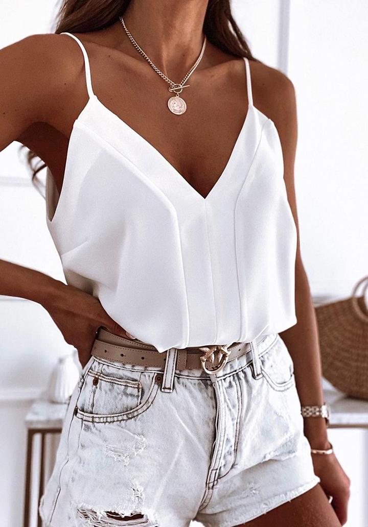 İp Askılı V Yaka Airobin Bluz (Beyaz)