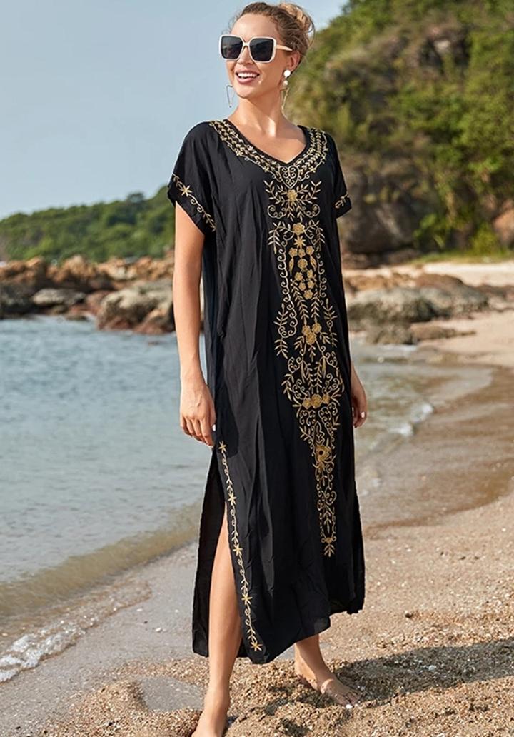 Etnik Desen Nakış İşleme Vintage Elbise