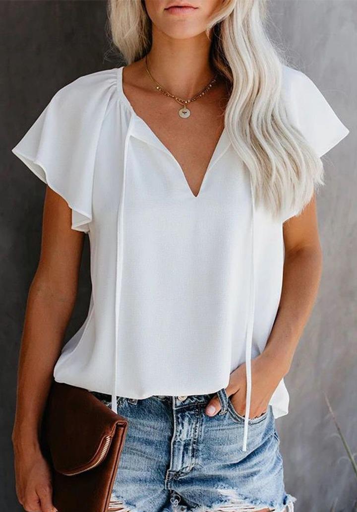 Yaka Bağcıklı Quin Crep Bluz (Beyaz)