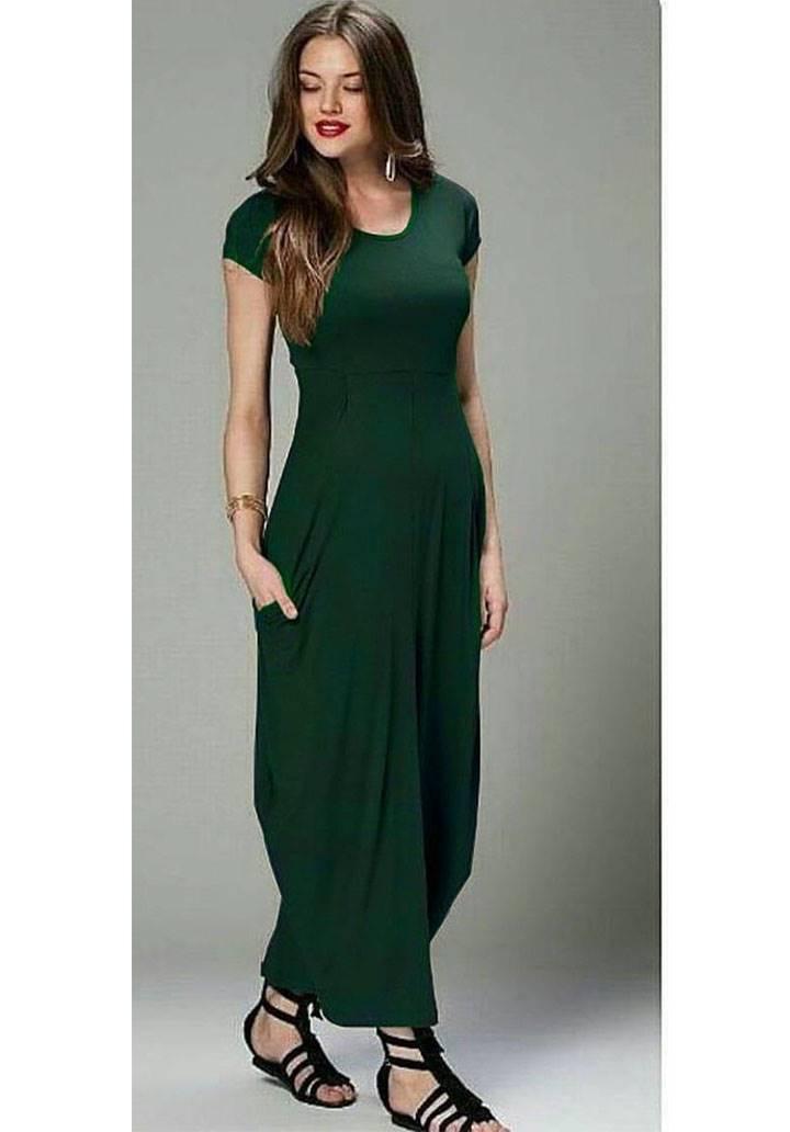 Yeşil cep detay viscon spor elbise