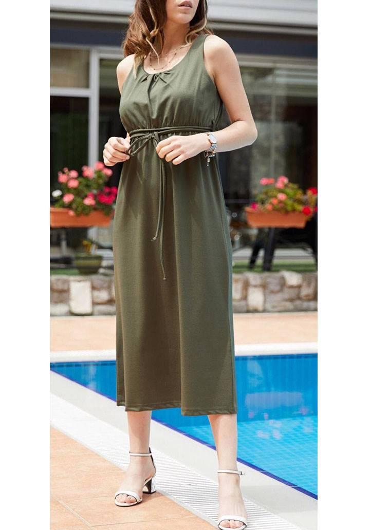 Kolsuz bel bağcıklı midi boy elbise(haki)