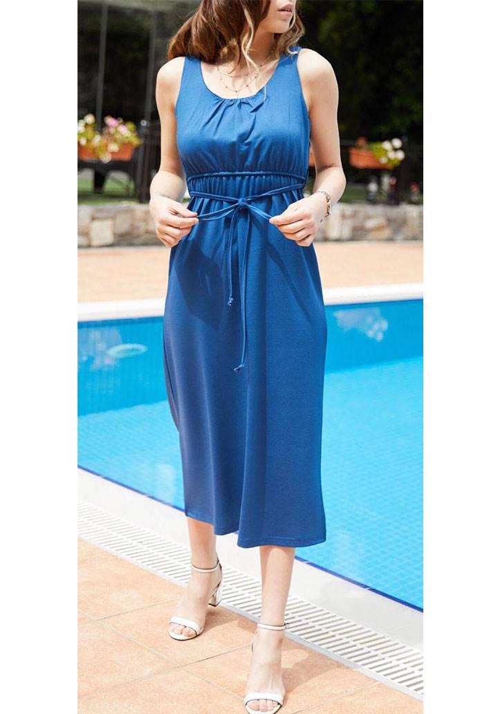 Kolsuz bel bağcıklı midi boy elbise(sax)