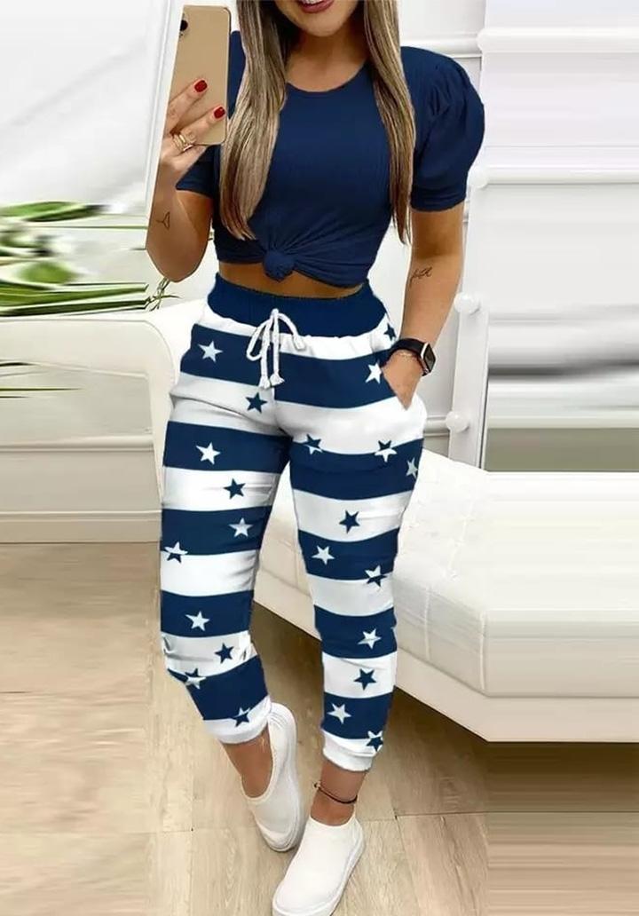 Yıldız Baskılı Pantolon Tshırt İkili Takım