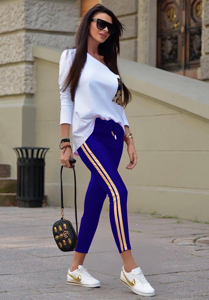 Kayık Yaka Payetli Bluz Pantolon İkili Takım (Sax)