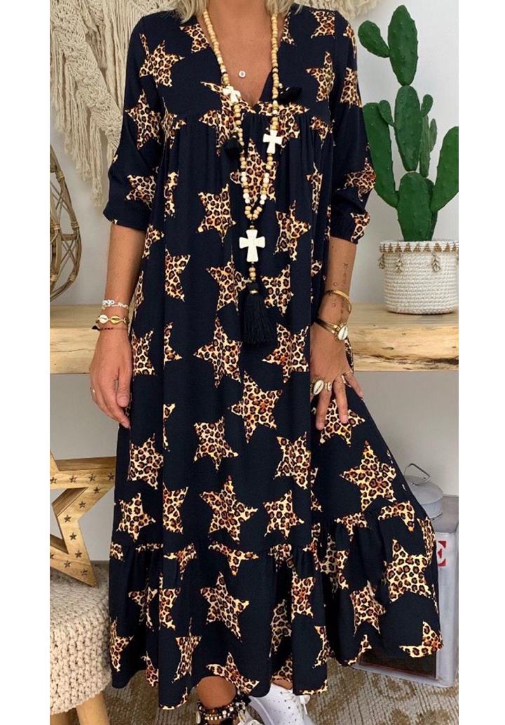 Eteği volanlı leopar yıldız baskı maxı boy elbise