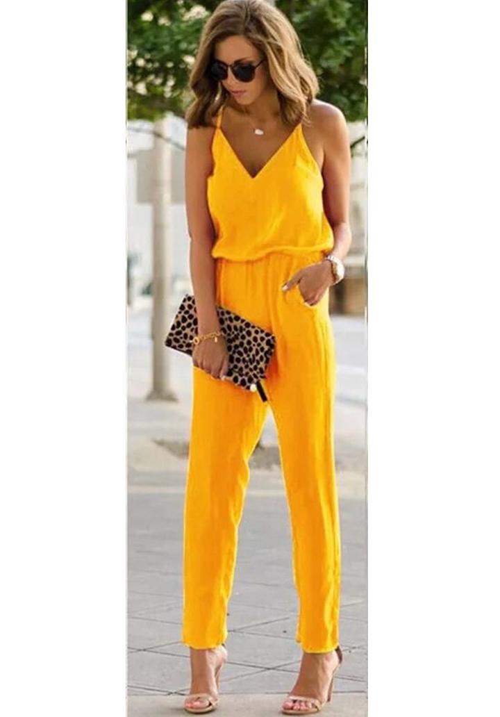 İp Askılı Bluz Pantolon Crep Takım (Sarı)