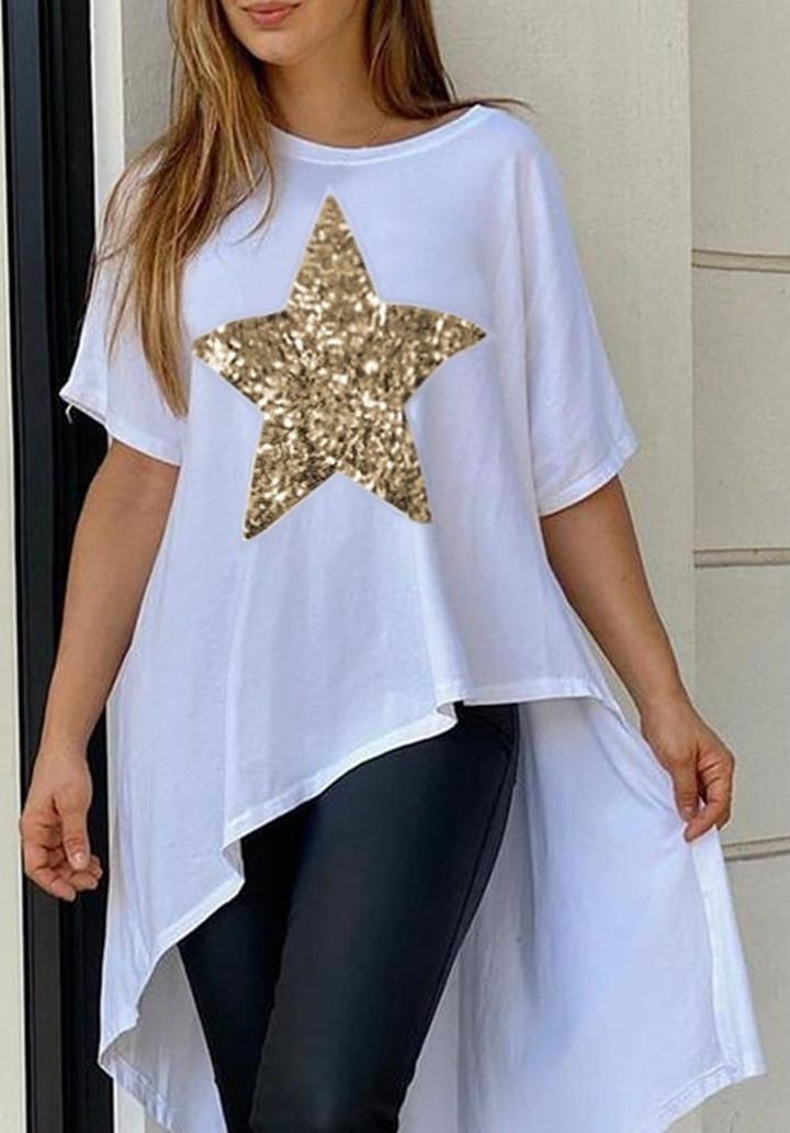 Asimetrik Kesim Yıldız Payet Detay Tunik (Beyaz)