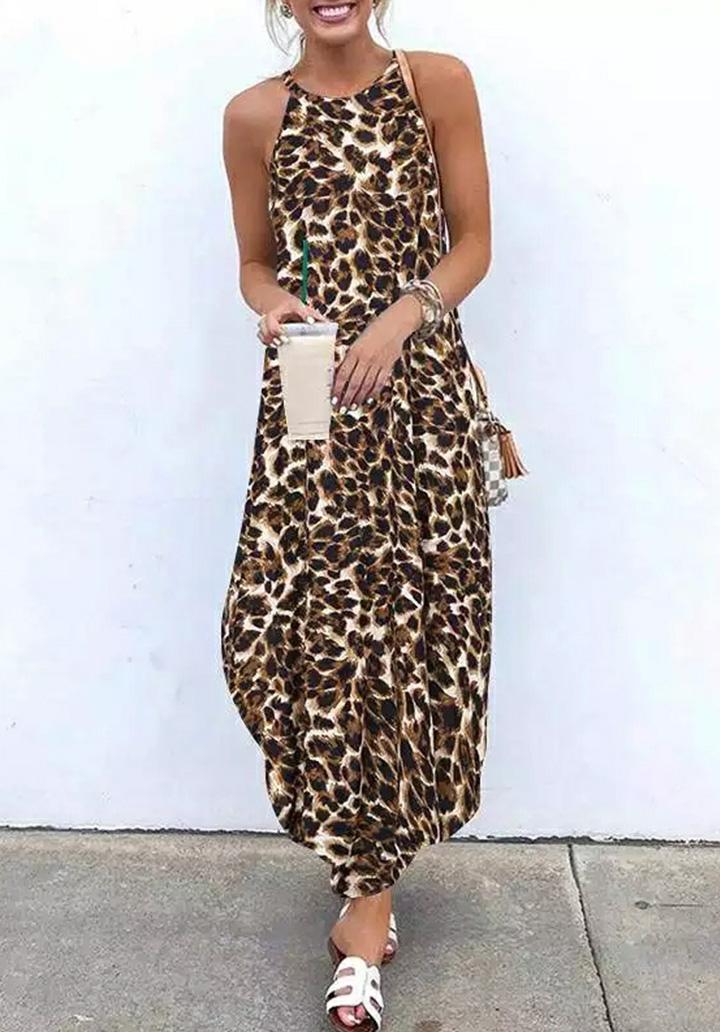 Leopar Desen Kolsuz Süprem Elbise
