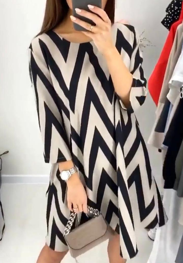 Desenli Zara Örme Crep Elbise