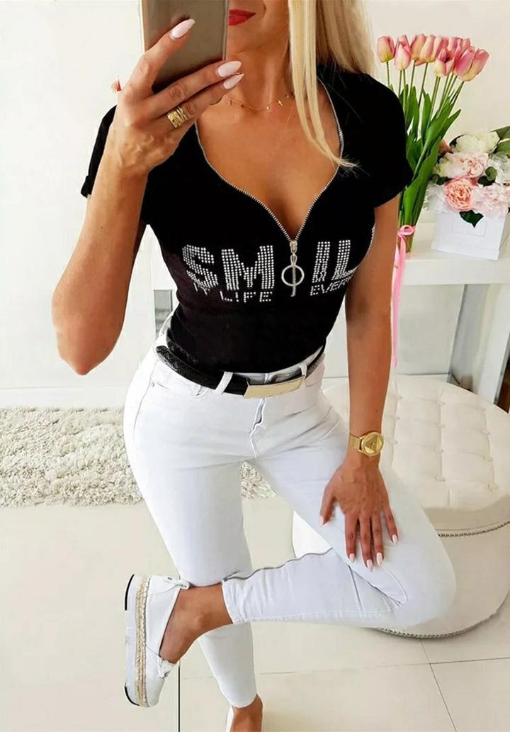 Smile Taşlı Fermuar Detay Bluz