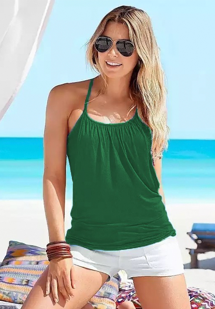 Boyun Askılı Viscon Bluz (Yeşil)