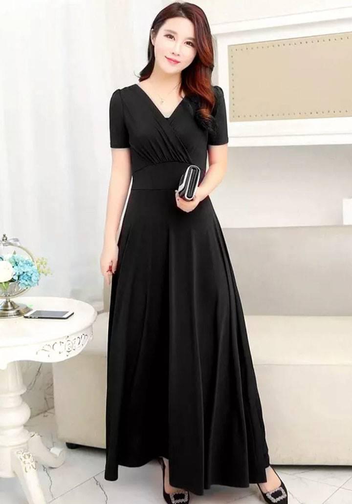 Kruvaze yaka maxı boy elbise(siyah) - 1