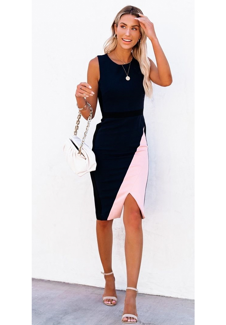 Kolsuz Yırtmaçlı Parça Detay Kalem Elbise - 1
