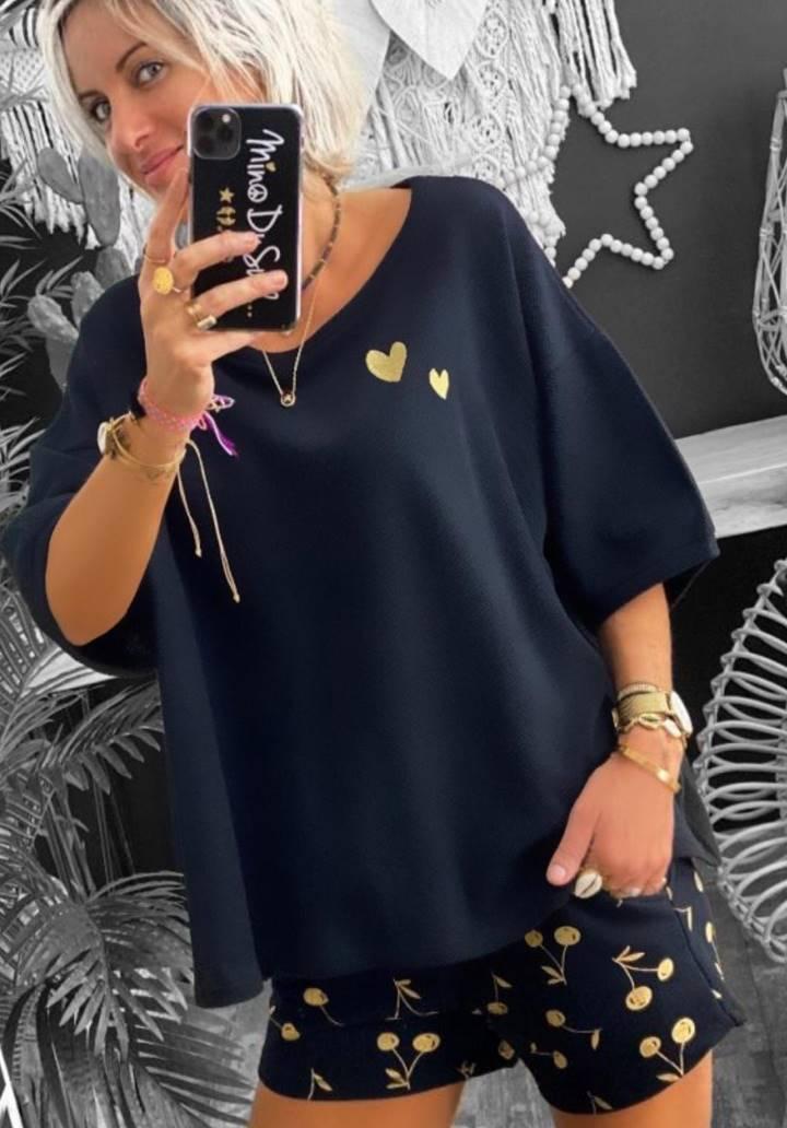 Kalp baskı detay kayık yaka basic bluz(siyah) - 1