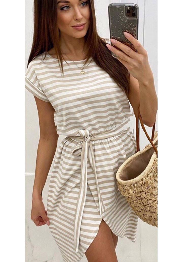 Vizon çizgili asimetrik kesim elbise