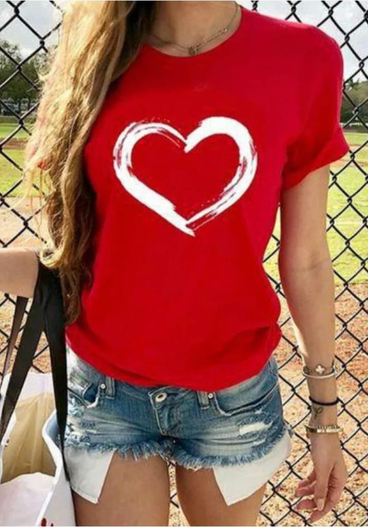 Kalp Baskılı Süprem Tshırt (Kırmızı)