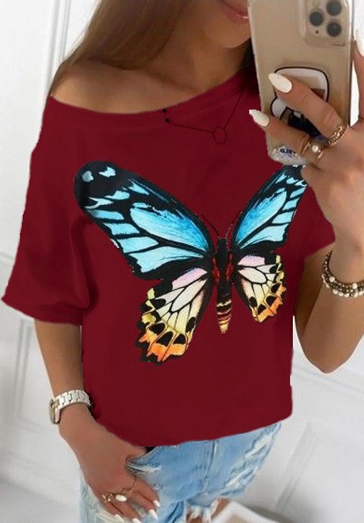 Kayık Yaka Kelebek Desen Tshırt (Bordo)