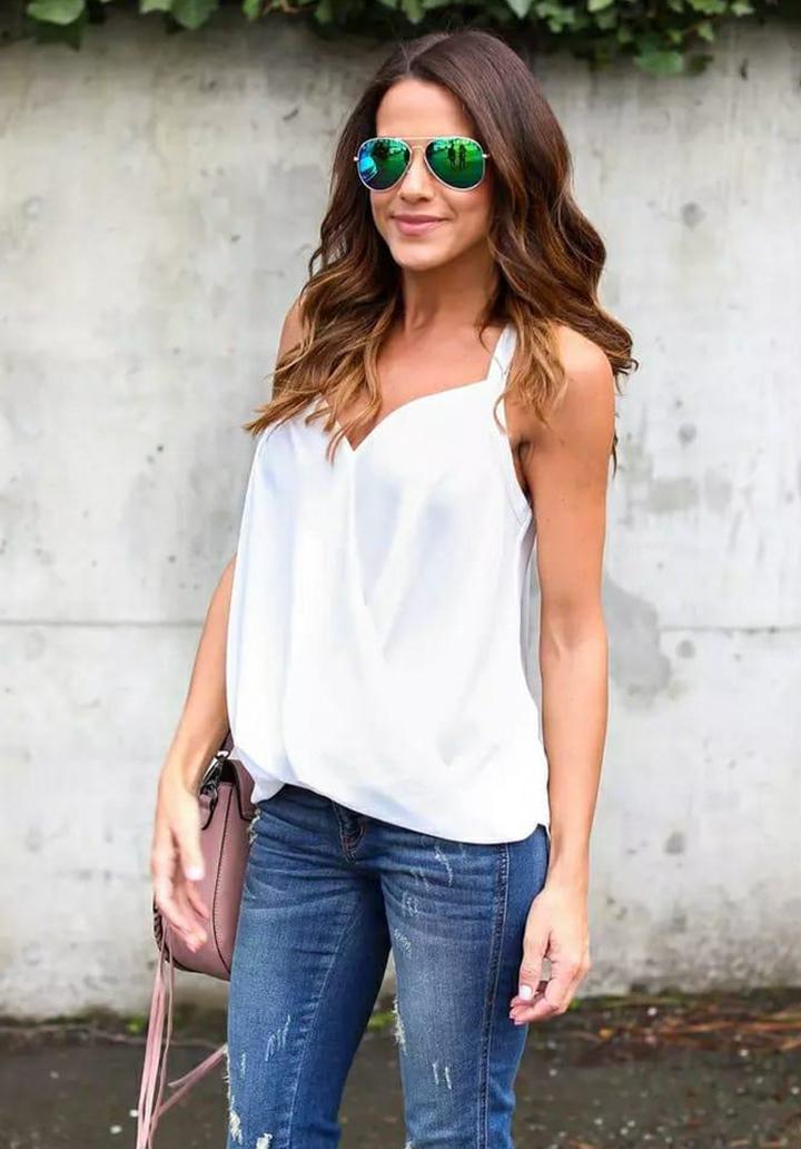 Kruvaze Yaka Askılı Sandy Bluz (Beyaz)