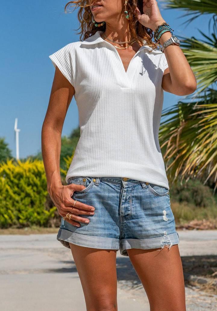 Polo yaka kaşkorse tshirt(beyaz)