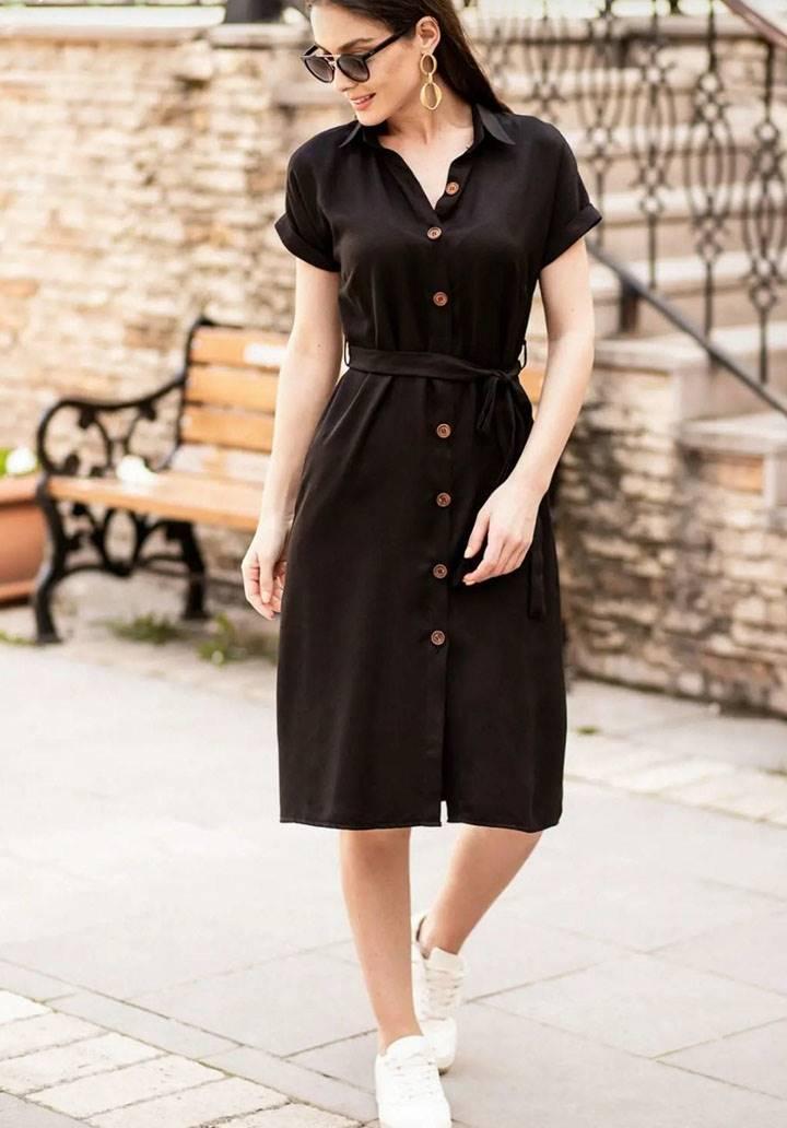 Kuşaklı siyah yeni sezon gömlek elbise