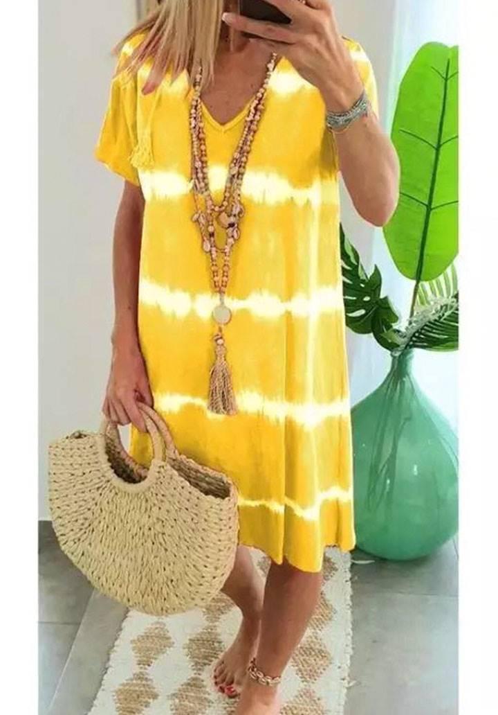 V  yaka yeni sezon batik elbise(sarı)