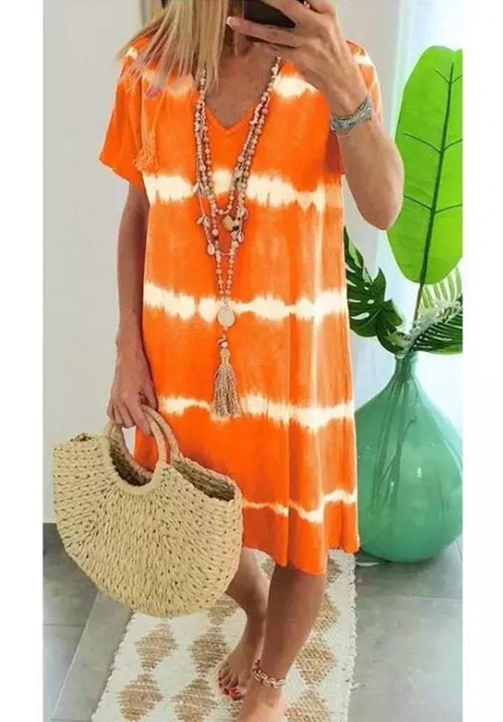 V  yaka yeni sezon batik elbise(orange)