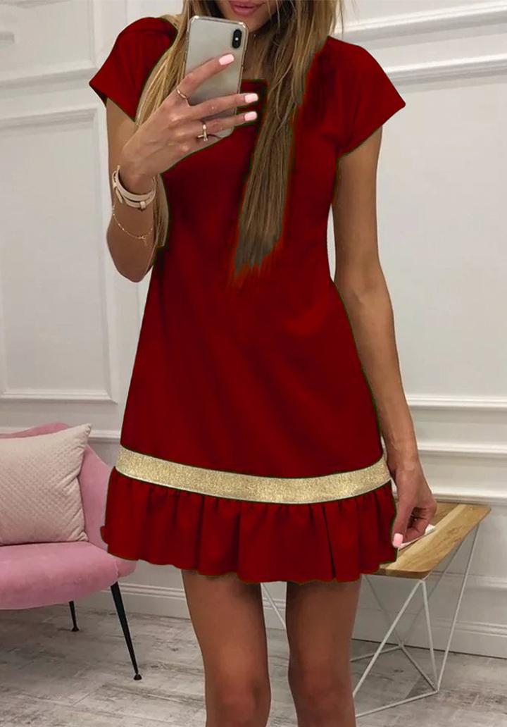 Eteği Pliseli Şerit Detay Elbise (Bordo)