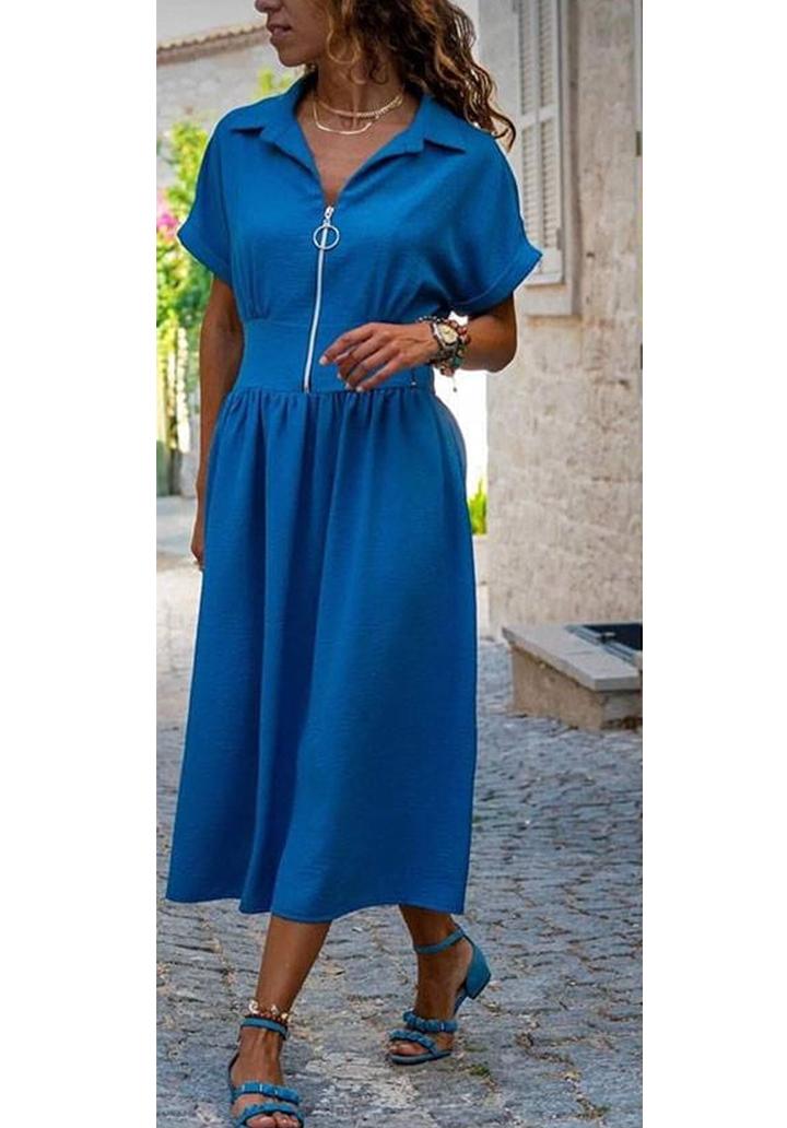 Fermuar detay midi boy yeni sezon elbise(indigo)