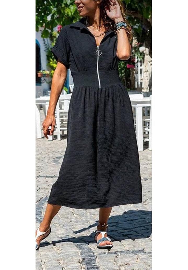 Fermuar detay midi boy yeni sezon elbise(siyah)