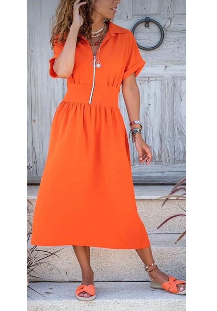 Fermuar detay midi boy yeni sezon elbise(orange)