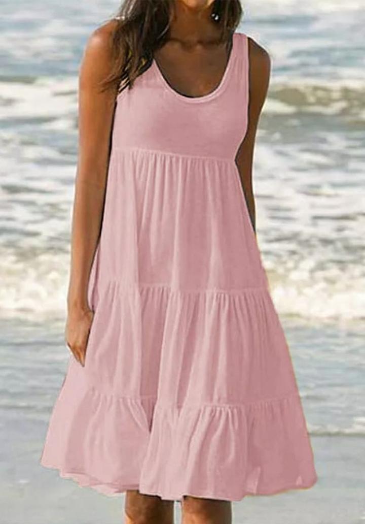 Kalın Askılı Kloş Süprem Elbise (Pudra)