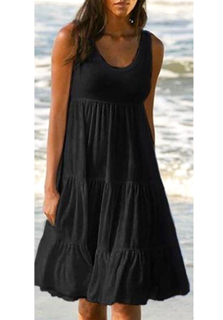 Kalın Askılı Kloş Süprem Elbise (Siyah)