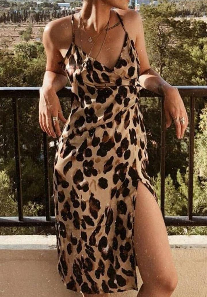 İp Askılı Leopar Desen Micro Kumaş Elbise