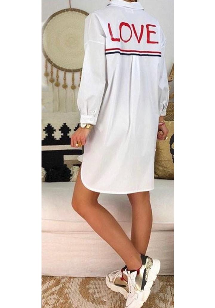 Ekru love tasarım gömlek elbise