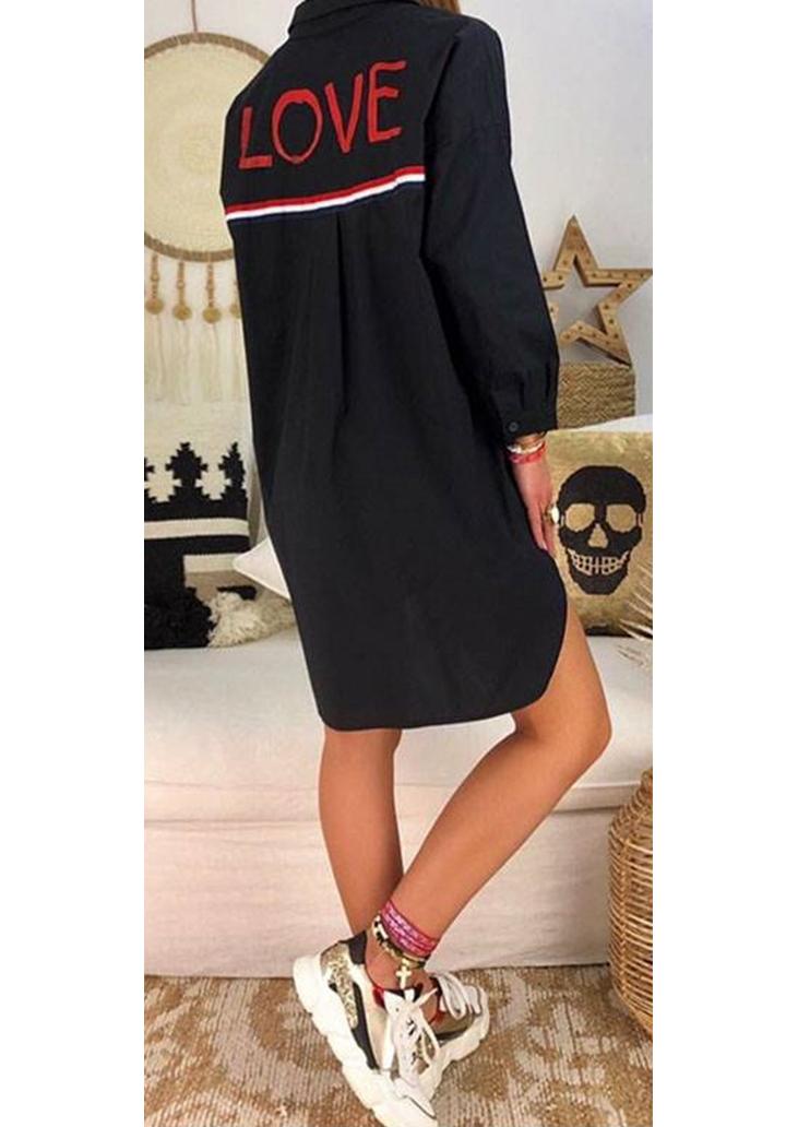 Siyah love tasarım gömlek elbise