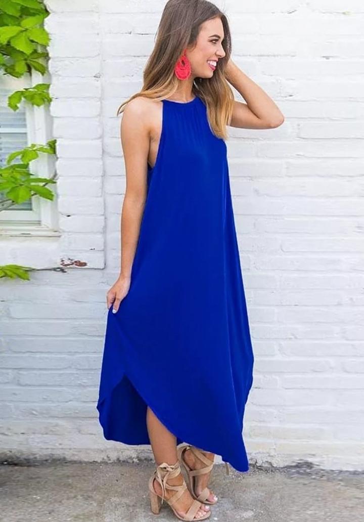 Asimetrik Kesim Askılı Elbise (Sax)