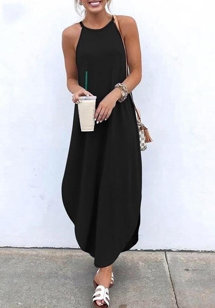 Asimetrik Kesim Askılı Elbise (Siyah)