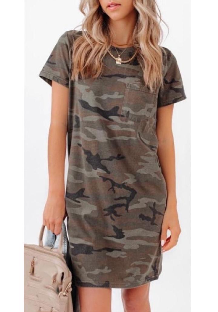 Kamuflaj Desen Tek Cep Basic Elbise