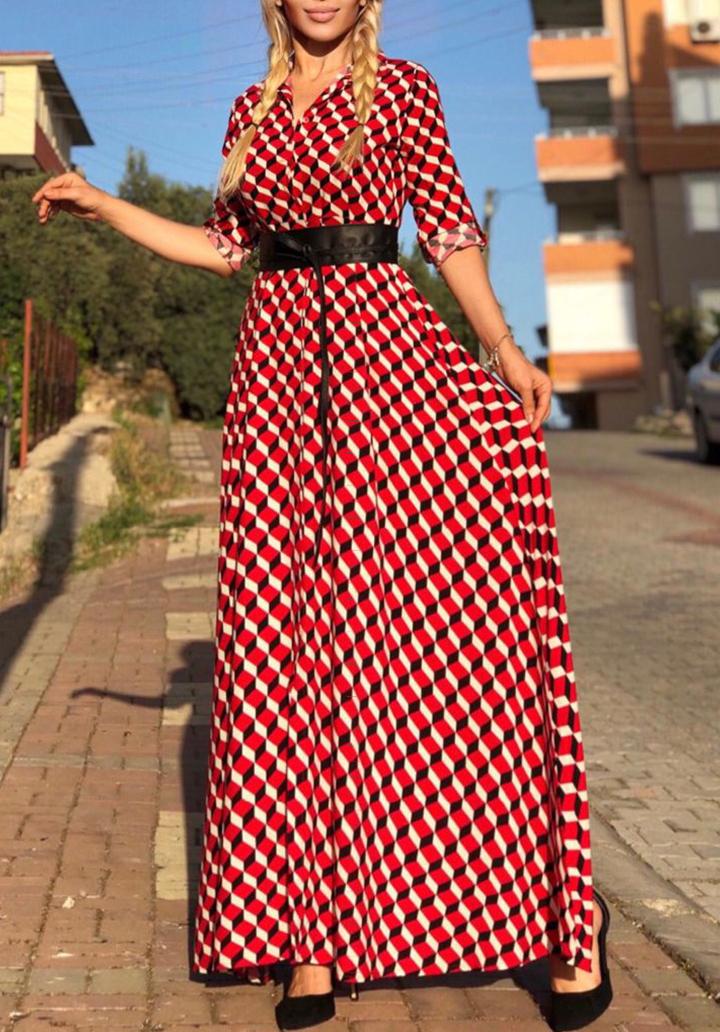 Maxı Boy Desenli Dokuma Viscon Elbise