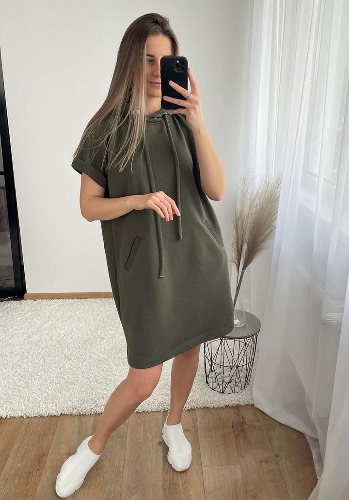 Kapşonlu Yeni Sezon Basic Elbise (Haki)