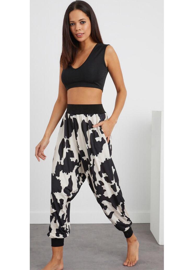 Siyah-Beyaz Şalvar Pantolon